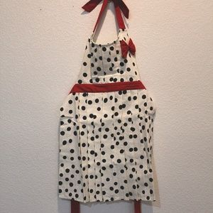 Anthropologie cotton polka dot apron red bow NWOT